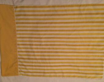 Fashion Manor Gold Yellow Stripe Vintage Sheet Muslin Penn Prest Standard Pillow Case Sheets