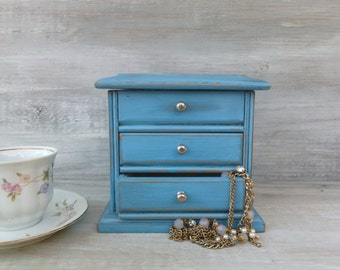 Upcycled Jewelry Box Painted Ocean Blue