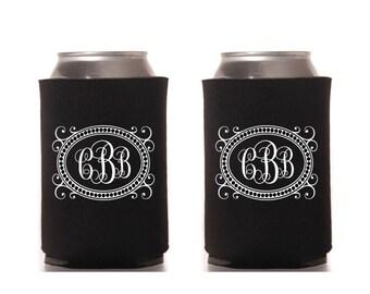 Initial Can Beverage Cooler Custom Design Printable Digital Fancy Border