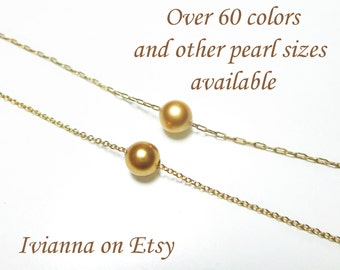 Small 6mm Floating Pearl Necklace in Rose Gold, Gold or Sterling Silver, Gold Single Pearl Bracelet, Bridal / Bridesmaid Jewelry