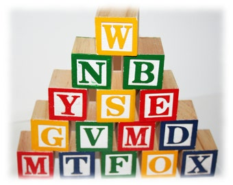 Wooden Alphabet Blocks, Lettered Blocks, Baby Alphabet Blocks, Alphabet Blocks Decor, ABC Blocks, Baby Shower Blocks