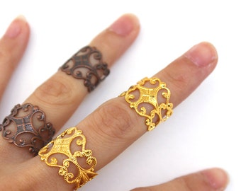 Gold floral filigree Filigree adjustable rings (3 color option) Armor ring Midi band Steampunk cosplay,elven wedding,larp jewelry