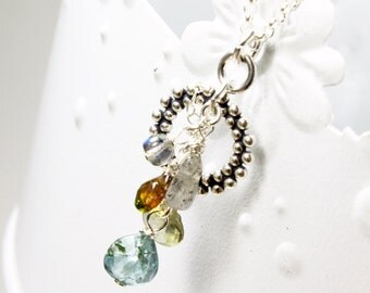 Multi Gemstone Cluster Pendant Necklace, Sterling Silver, wire wrap gems, labradorite, tourmaline, sapphire, blue topaz, gift for her, 3275