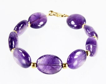 Amethyst Bracelet, Gold-filled, deep purple gemstone, statement bracelet, gift for her, classic, elegant, feminine, February gemstone,3294