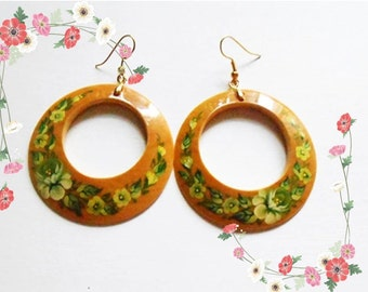 Wooden Earrings in the Russian style Zhostovo in handmade