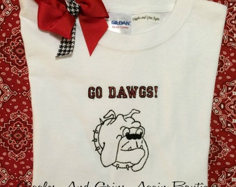 UGA - University of Georgia - Go DAWGS - Bulldog Shirt - Embroidered Tee or Bodysuit - Sizes 12 to 24 months and 2 to 6