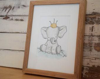 Original pen and ink watercolor elephant art