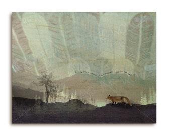 Fox art print on wood, Follow Your Instincts, woodland fox on maple wood, monochrome mountains, wood grain