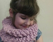 Hand Knit Chunky Cowl Scarf for Kids in Dusty Pink