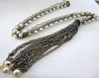 """Vintage Flapper Tassel Necklace - SUPER LONG 36"""" with 6"""" Tassel - Silver Tone Chain and Faux Pearls"""