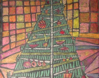 Vintage color drawing of Christmas tree with ornaments signed
