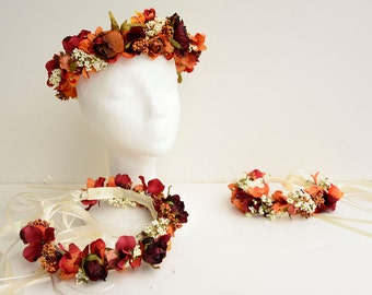 Wedding Flower Halo for Bride Bridesmaid or Flower Girl set of 3 in Fall Colors