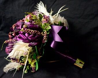 Brides Round Wedding Bouquet Silk Flowers in Purple and Ivory Feathers 12 Piece Set Custom Design