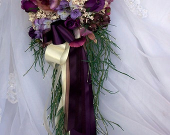Brides Wedding Bouquet Set in Purple and Pink Orchids Roses Hydrangea 14 Piece