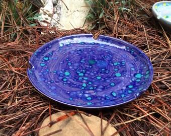 Lagoon ashtray, ceramic ashtray, blue ashtray, dark blue ashtray, handmade ashtray, pottery ashtray
