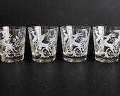 Vintage Gazelle Rocks Glasses by Federal Glass set of four (4)