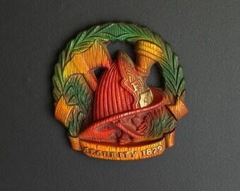 Vintage Fire Department Plaster Wall Plaque by Miller Studios Chalkware Fireman Fire Fighter Helmet