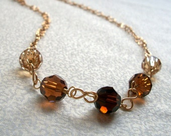 Chloe - Beige & Brown Necklace, Ready to Ship