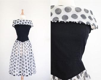 Vintage 1950's 50's Polka Dot Sheer Party Dress XS Extra Small