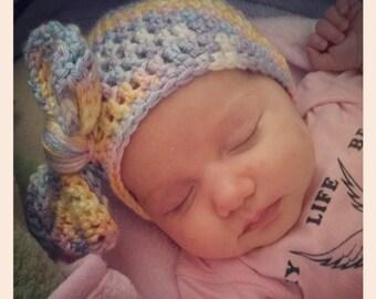 Crochet Pattern // Baby Bow Beanie // Digital Download // Easy // Tutorial