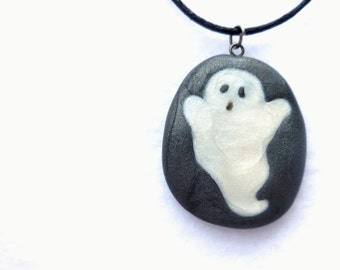 Halloween Jewelry, Polymer Clay Ghost Necklace, Cute Ghost Pendant