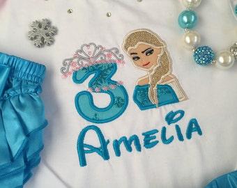 Frozen Elsa inspired crown number birthday Top