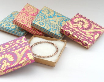 Necklace Bracelet Jewelry box,Wedding favor box, Packaging box 10 Sari Border Print with Kraft 9cm x9cm x.1.5cms