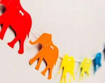 Elephant Garland - Animal Garland - Rainbow Garland - Paper Bunting - Rainbow Birthday - Playroom Decor - Rainbow Party Ideas
