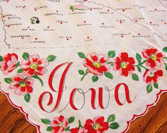 1960s IOWA State Handkerchief with Red Pink Flowers Vintage Hankie, Hanky, Vintage Handkerchief