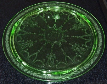 Vintage 1930s Green Depression Glass Footed Cake Plate Anchor Hocking Glass Green Cameo Ballerina Pattern