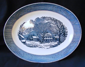 "Currier and Ives, Royal China  13"" Oval Platter, Old Inn in Winter Scene"