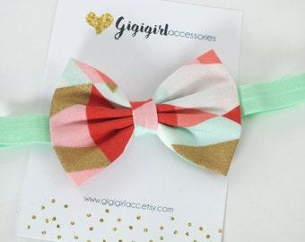 Bowtie Headband, Fabric Bow Headband, Mint and Gold Headband, Coral Mint and Gold Bow Tie, Fabric Bow Tie Headband