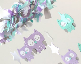 Owl Nursery Mobile in Lavender, Aqua, White & Gray- Baby Mobile, Crib Mobile, Baby Shower Gift