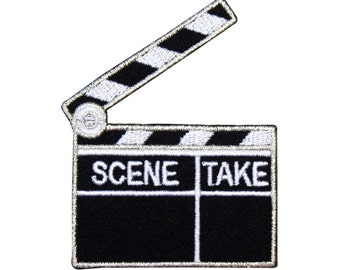 ID 2368E Filmmaking Clapperboard Patch Film Production Craft Iron-On Applique