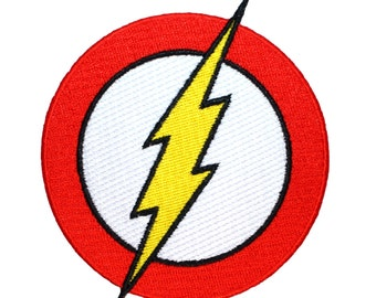 Flash Logo Superhero Costume Lightning Emblem DC Comics Iron-On Applique Patch