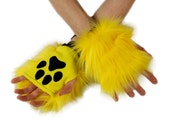 Pawstar Color Theme Pawlets Paw Glove Hand Arm Warmers Cuffs Furry Costume Pastel Pink Black white Yellow Purple Turquoise Teal Blue 3170