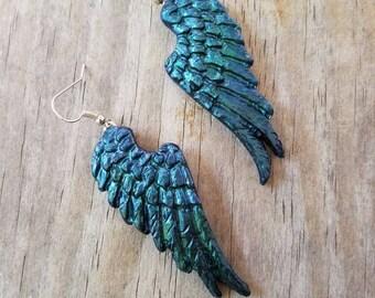 Raven/Angel wing earrings set