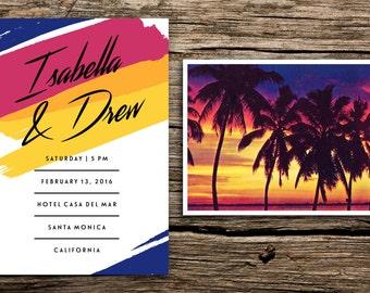 Tropical Sunset Wedding Invitation and Postcard RSVP // Retro Destination Wedding Invitation Florida Wedding Invitation Mexico California