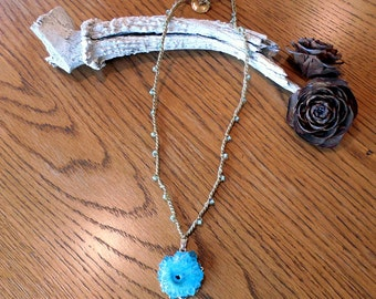 "Ready To Ship 20"" Bead Crochet Necklace With Aqua Stalactite Pendant"