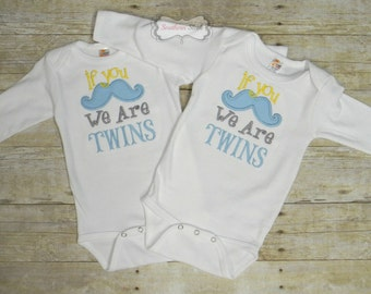 If You Mustache We Are Twins Embroidered Shirts or Bodysuits