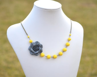 FREE EARRINGS Grey Rose and Yellow Glass Bead Flower Necklace, Grey and Yellow Flower Necklace, Grey and Yellow Bridesmaid Necklace