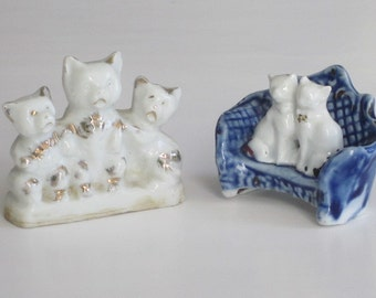 2 Vintage Blue White CAT Figurines Small Size FREE SHIPPING