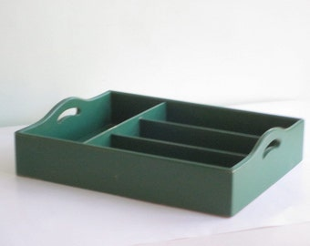 Vintage Green Wood Divided Serving Tray