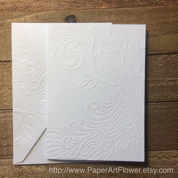 Executive College Stationery Note Cards: Peacock Cards White Embossed Note Cards Stationery Set