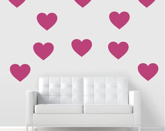 Giant Hearts Vinyl Wall Decal, Heart Decal, Large Heart Decal, Heart Art