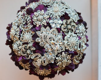 Brooch Bouquet Petal Brooch Bouquet 12 inch ready to ship Bridal Bouquet bride bouquet