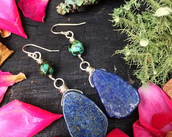 Lapis & african turquoise- sterling silver wire wrapped handmade earrings
