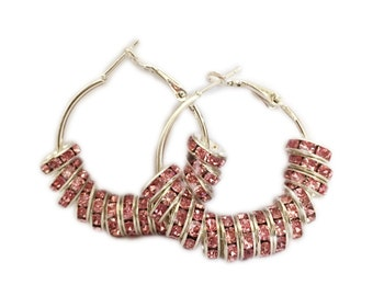 NEW Bling Hoops Pink Rhinestone Silver Hoop Earrings Kids Women