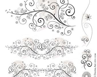 Flourish Swirl Clipart Floral Vector Images Clip Art Fancy Wedding Design DIY Bridal Invitations COMMERCIAL USE Digital Download 10006