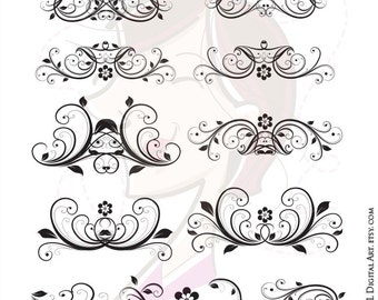 Digital Clipart Flourish Swirl VECTOR Vintage Flower Diy Wedding Invitation Decorative Scrapbook Design Elements COMMERCIAL USE 10128